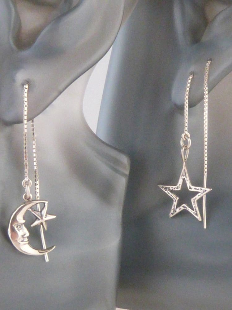 Sterling Silver Moon and Star Threader