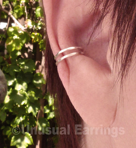 Sterling Silver narrow double band ear cuff