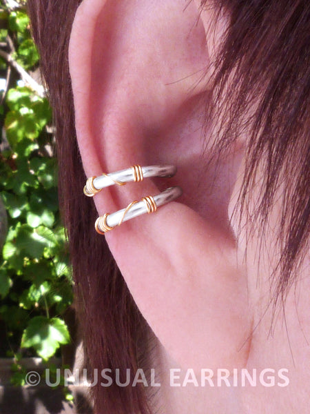 Yolo, Sterling Silver double earcuff with gold wrap