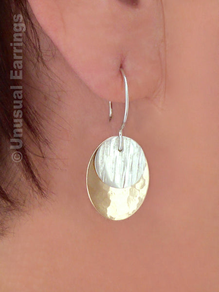 Tehama, Sterling Silver pierced 2-tone drop earrings