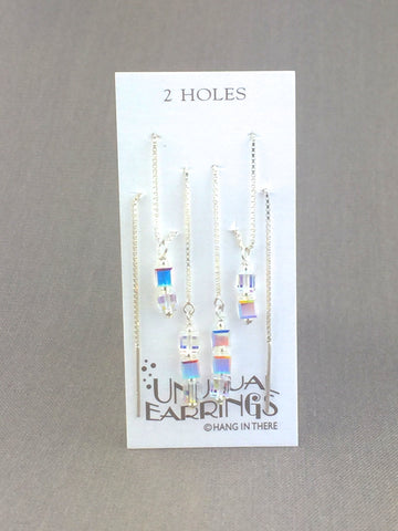Sterling Silver Swarovski clear crystal threaders