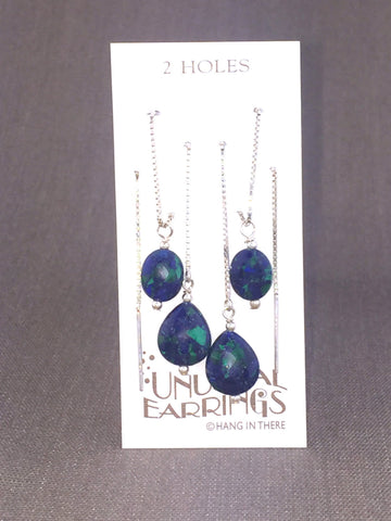 Sterling Silver Azurite Malachite Threaders