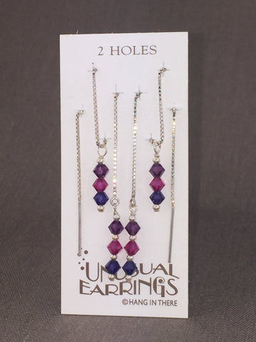 Purple/Pink sterling silver crystal threaders