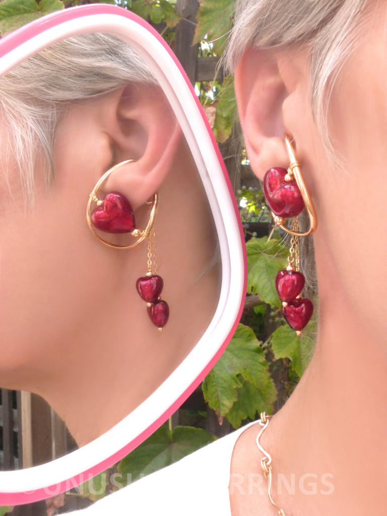 Venice - Gold Filled Red Heart with dangle