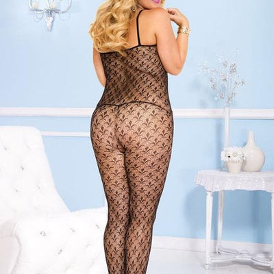 Music Legs Plus Size Flowery Look Crotchless Bodystocking
