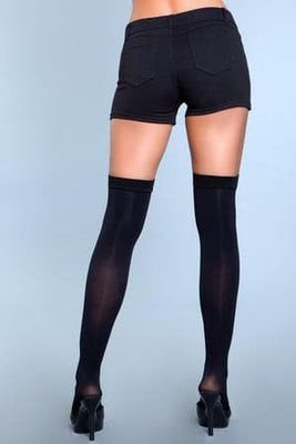 Be Wicked 1929 Black Illusion Clip Garter Thigh Highs