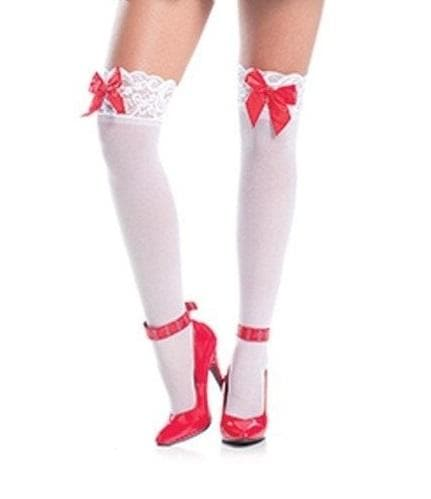 Be Wicked BW556W Sheer Lace Top Thigh Highs With Red Satin Bows