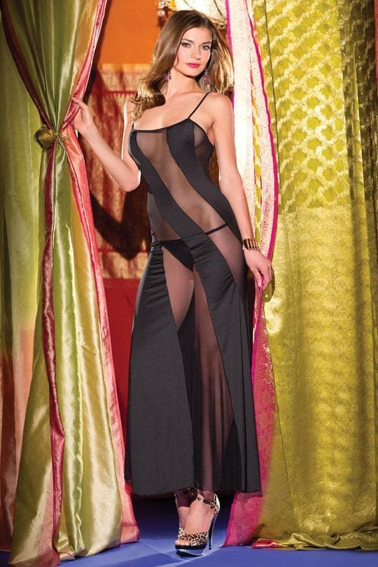 Be Wicked Peek-a -boo dress gown sexy lingerie black