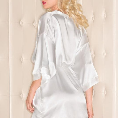 Be Wicked BW1525 White Satin Kimono Short Robe Solid