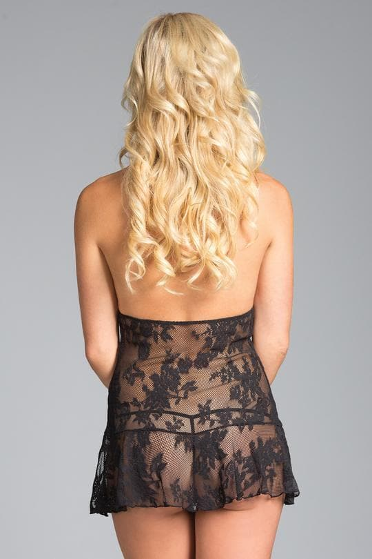 Be Wicked BW1630 Black Taylor Floral Lace Babydoll