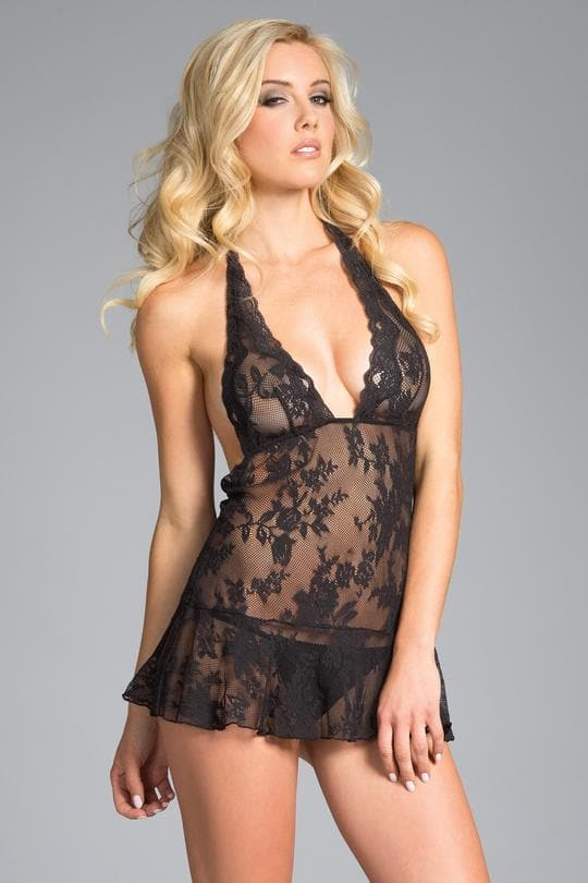 Be Wicked Black Floral Lace Babydoll bodysuit Sexy lingerie