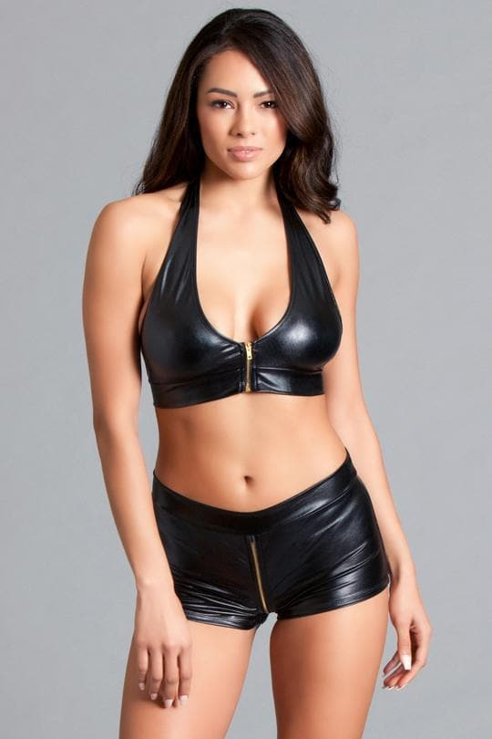 be wicked 2 piece set lingerie set sexy lingerie black leather wet look halter