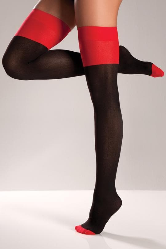 Be Wicked BW573 Red/Black Thigh Highs