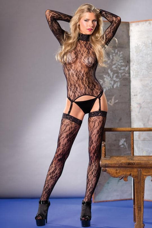 BE Wicked bodysuit thigh high suspender lace high neck black sexy lingerie