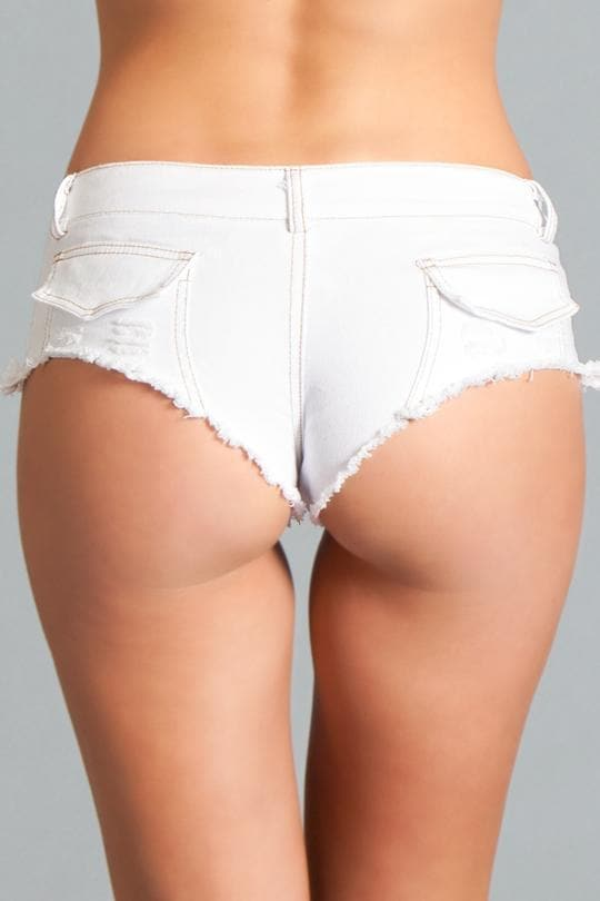 Be Wicked BWJ3WT White Denim Booty Shorts