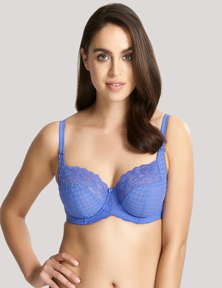 Panache Balconette 7285 cornflower front jacquered cup with stretch lace