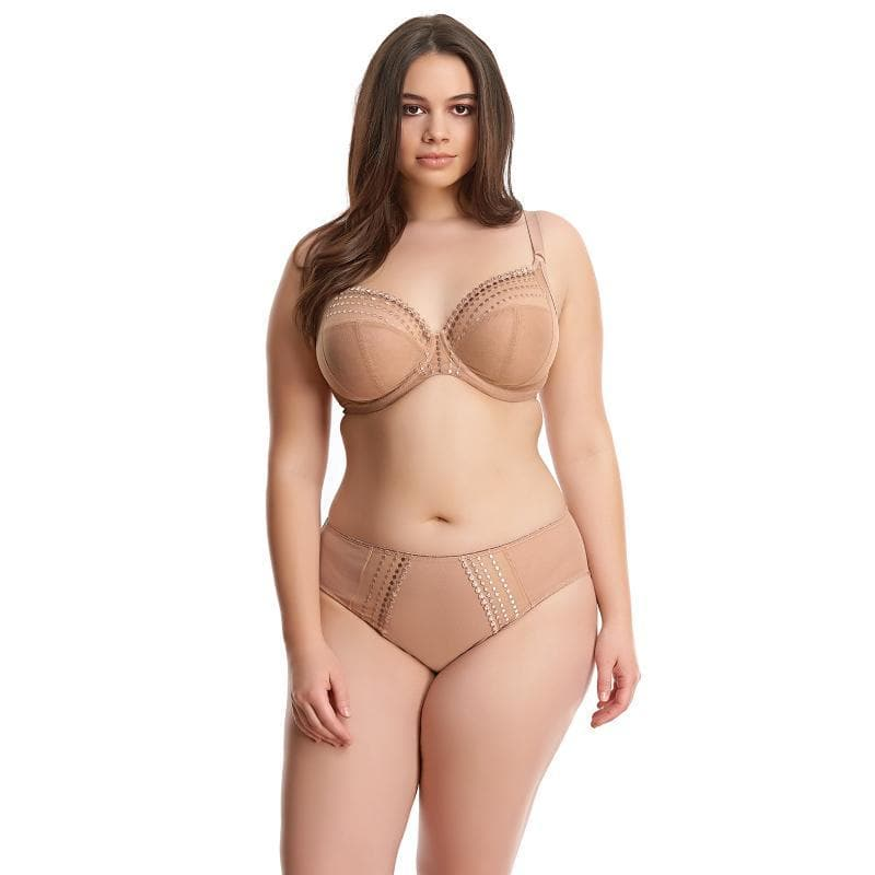 Elomi Matilda EL8900 Cafe AU Lait UW Plunge Bra sheer 3 sectioned bra