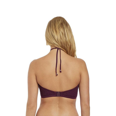 Freya Sundance AS3973 Black Cherry Underwire Padded Hi-Neck Crop Top SwimTop