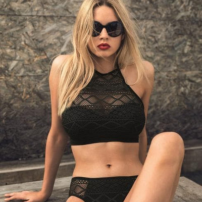 Freya Sundance AS3973 Black UW Padded Hi-Neck Crop Swim Top