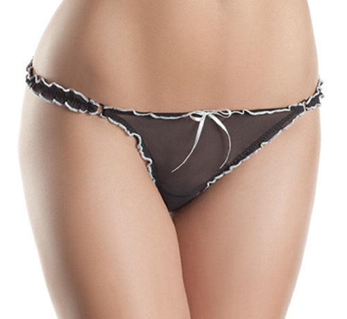 Be Wicked BW1303 Black/White Low Rise Thong