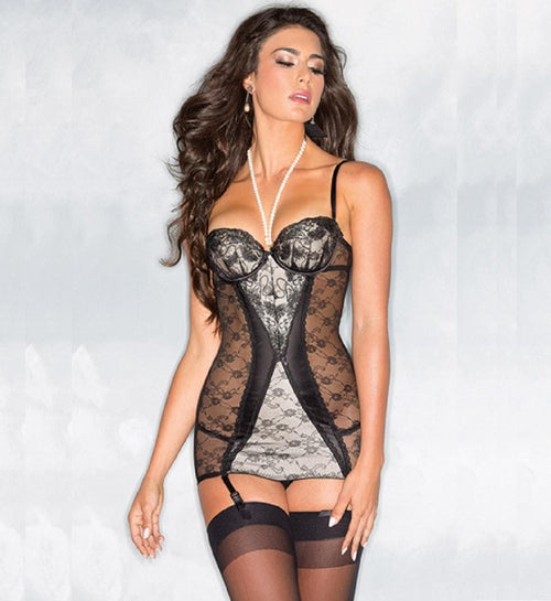 Be Wicked camisole sexy lingerie sheer suspender teddy black