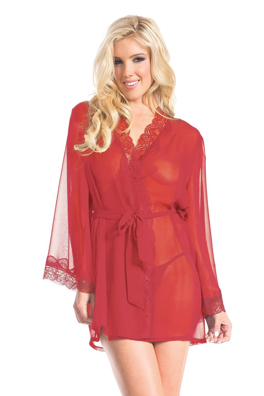 Be Wicked BW1629 Red 1-Piece Front Tied Sheer Robe