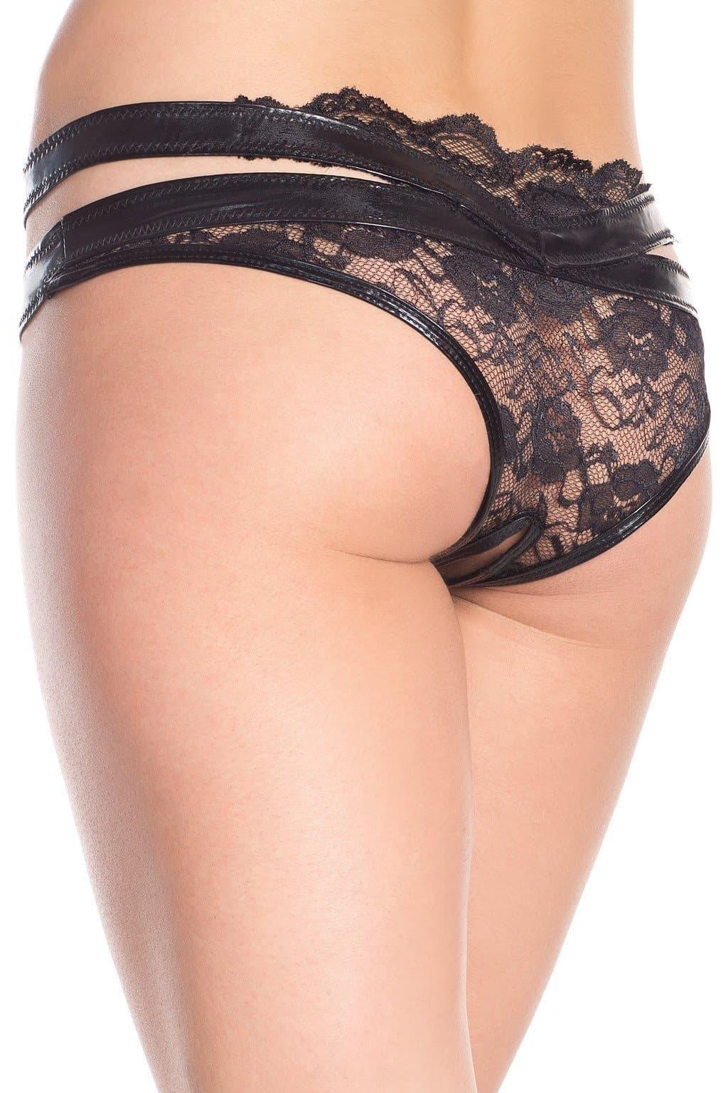 Be Wicked BW1645 Black Lace/Leather Like Strappy Crotchless Brief