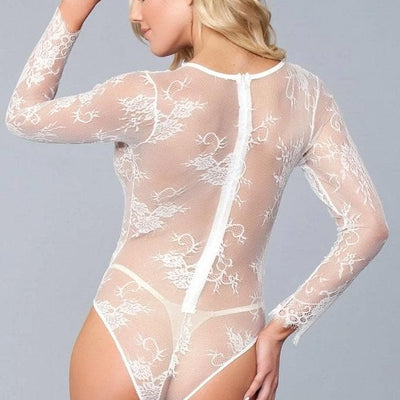 be wicked sexy lingerie white lace plunge bodysuit