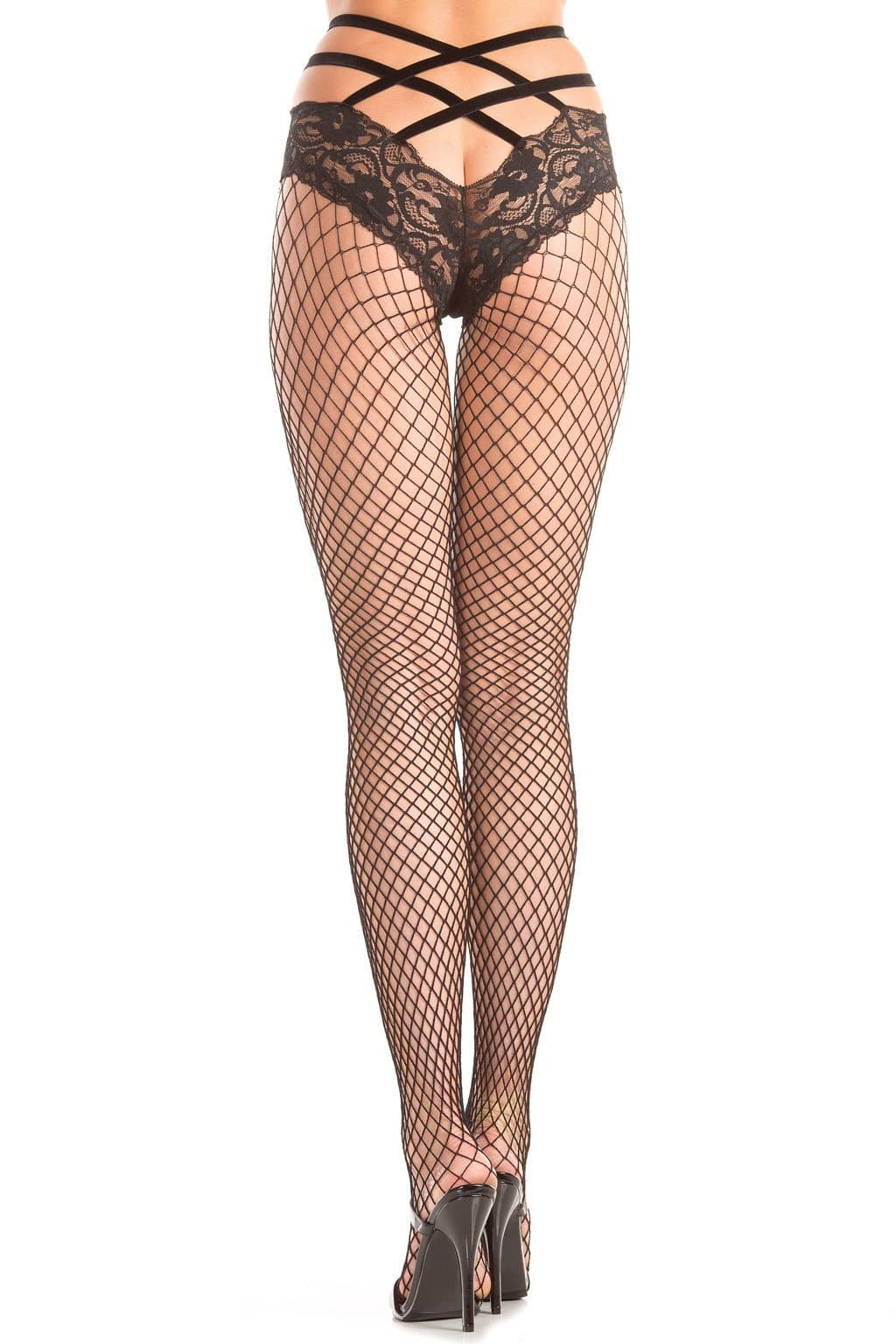 Be Wicked BW401 Fishnet Panythose with Elastic Strappy Waist and Lace Panty One Size