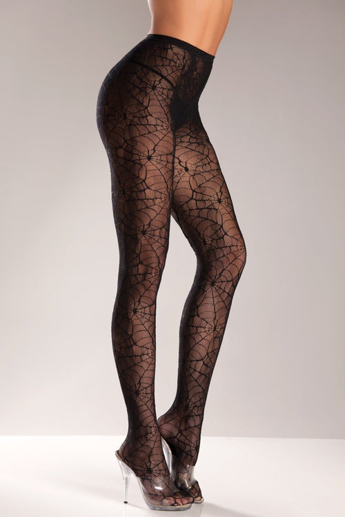 Be Wicked BW515 Black Spiderweb Pantyhose