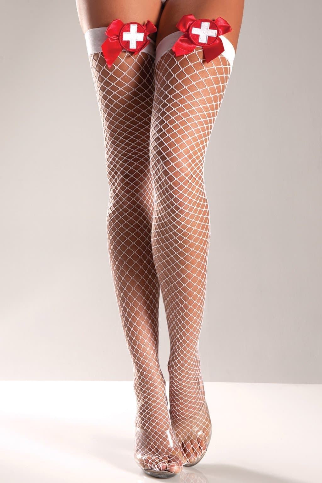 Be Wicked BW578 Wide Net Thigh High With Cross on Bow