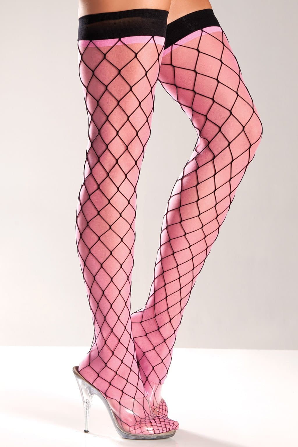 Be Wicked BW579 Spandex Fence Thigh Highs with Sheer Pink Underlining NWT One Size