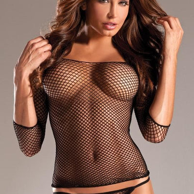 Be Wicked black fish net shirt plus size lingerie