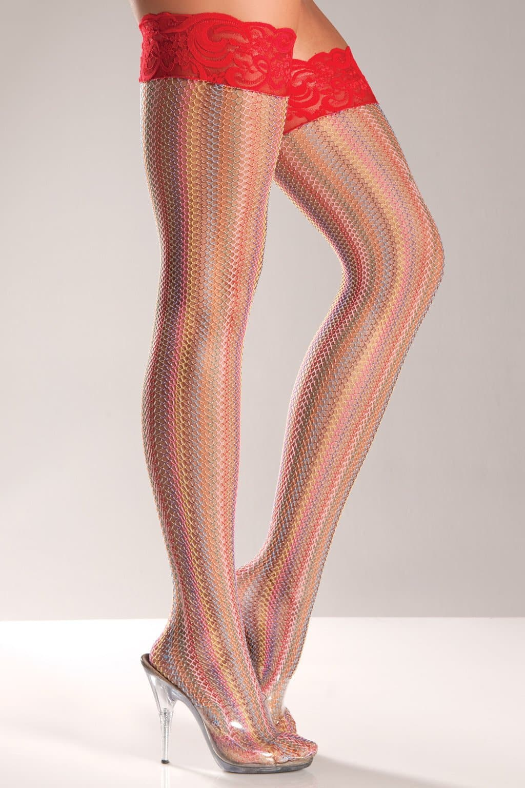 Be Wicked BW616 Rainbow Lycra Thigh Highs With Lace Top