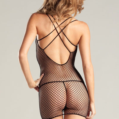 Be Wicked BW632 Black Spandex Net Mini Dress with Crisscross Back
