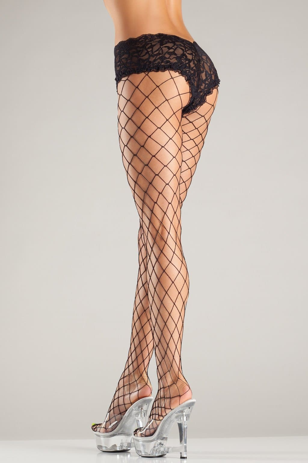 Be Wicked BW05Q Fence Net Tights With Lace Boyshorts Top