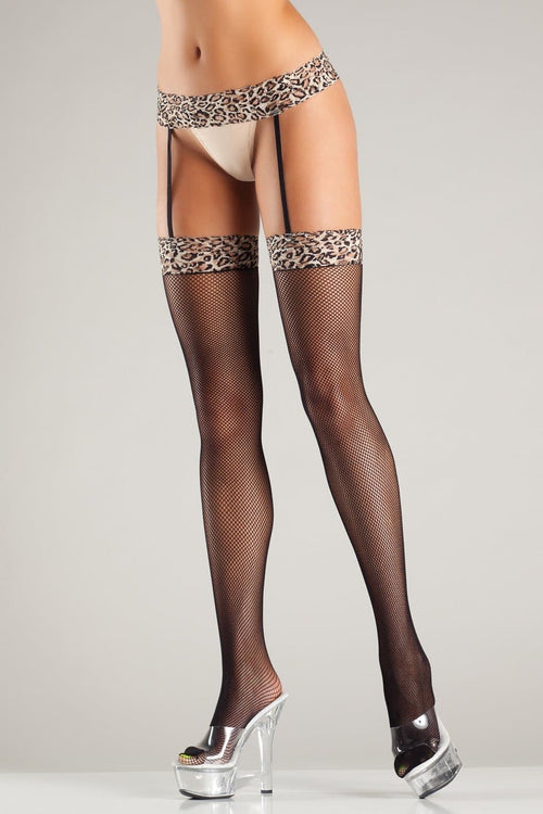 Be Wicked BW714 Leopard Print Fishnet Garterbelt Stockings