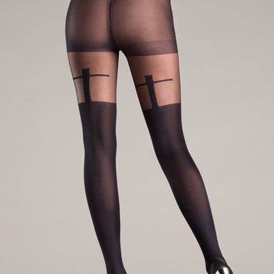 Be Wicked BW724 Sheer Black Pantyhose With Shadow Cross Design