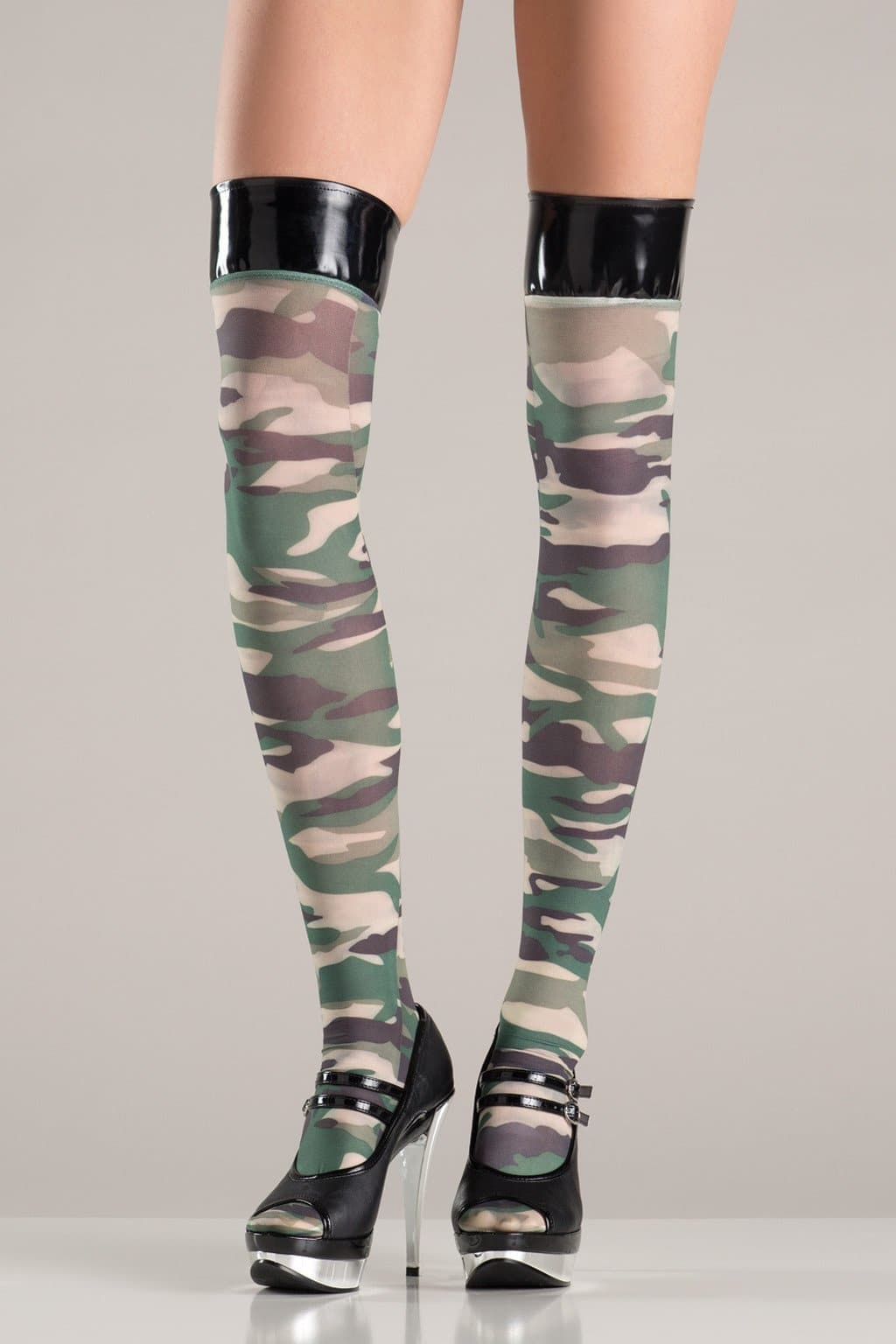 Be Wicked BW750 Camouflage Stockings With Vinyl Tops