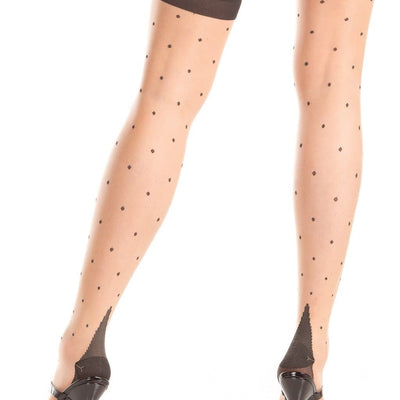 Be Wicked BW797 Polka Dot Nude Thigh Highs With Cuban Heel