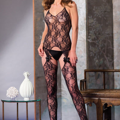 Be Wicked BWB62B 1 piece suspender bodystocking with bow lace design One Size