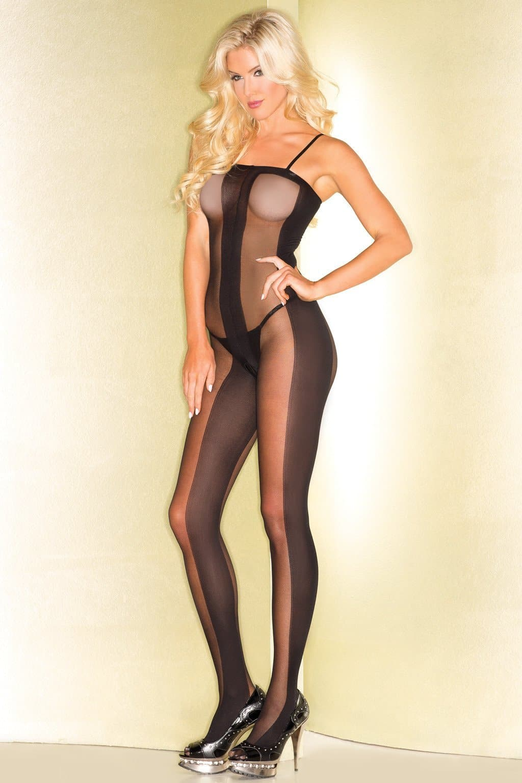 Be Wicked BWB81Sheer Bodystocking With Opaque Center