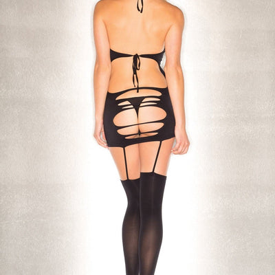 Be Wicked BWB92 OS Black Seamless Shredded Halter Dress with Garters and Stockings