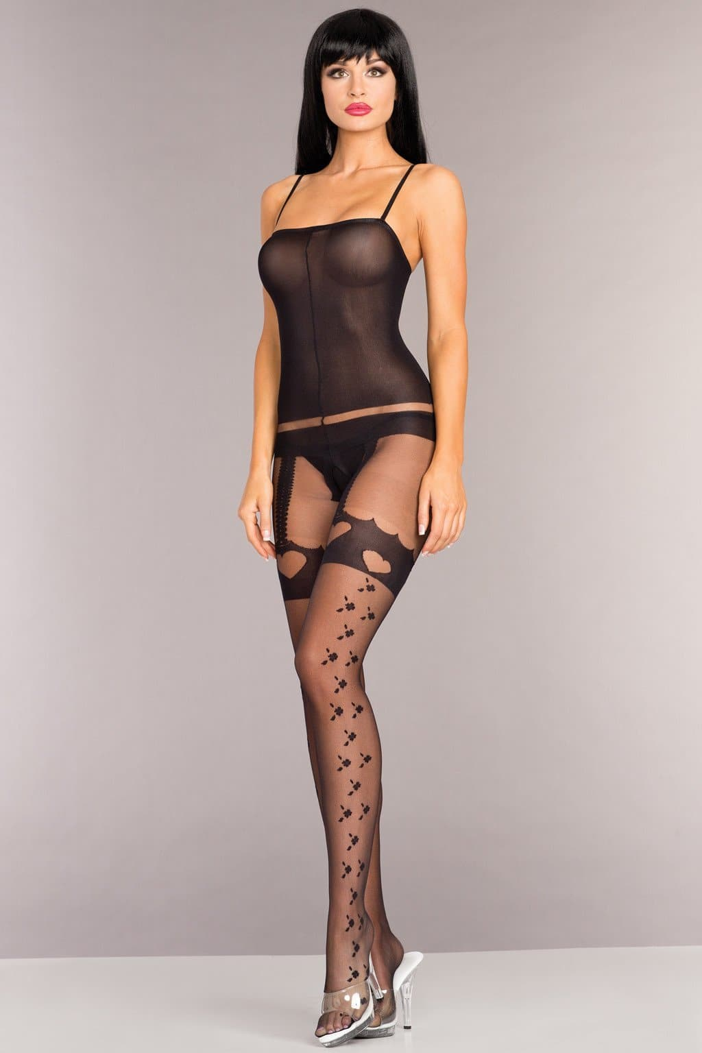Be Wicked BWB94 Opaque Spaghetti Strap Bodystocking