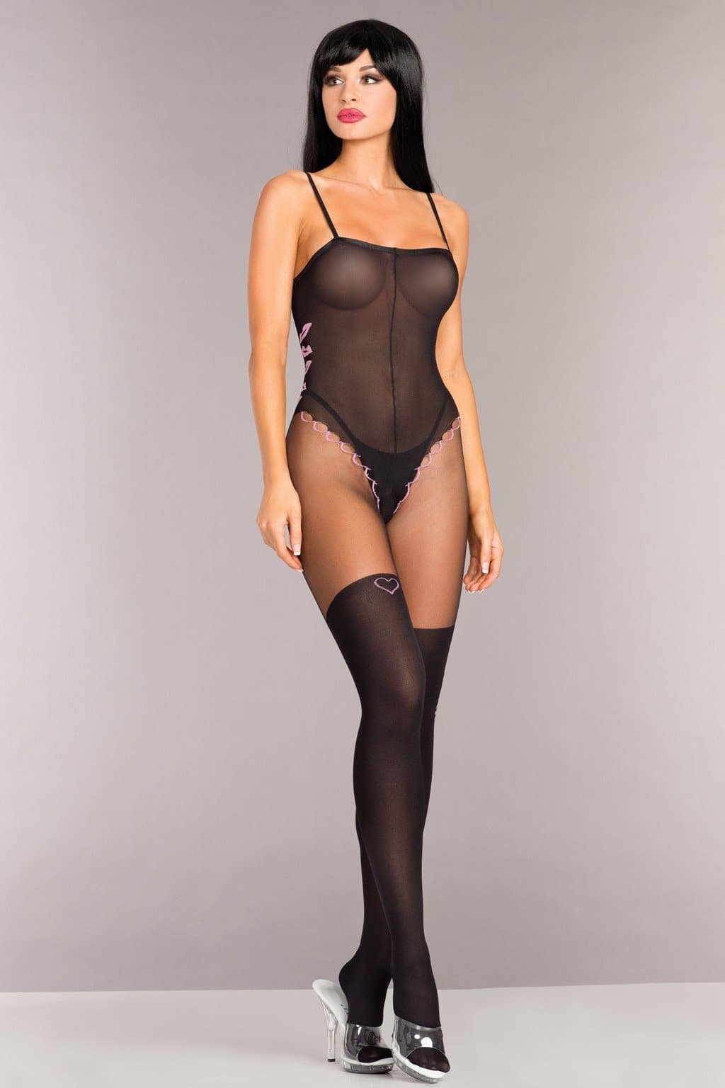 Be Wicked BWB97 Opaque Spaghetti Strap Bodystocking