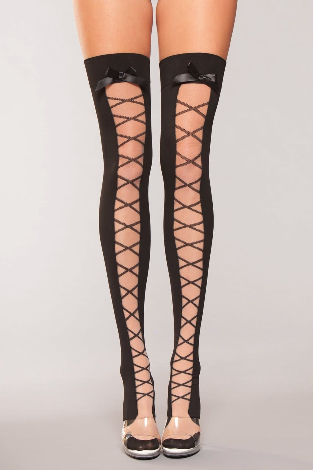 Be Wicked BWH801 Lace Up Over The Knee Hold Ups Corset Print On Nude Mesh