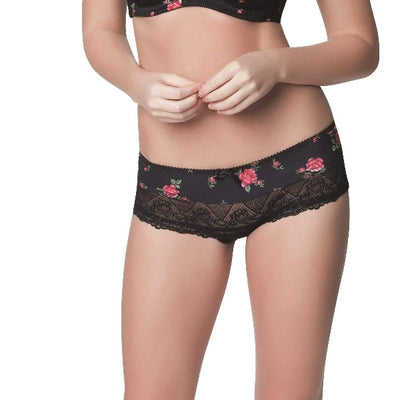 Parfait Casey 2805 Black Rose Print Boyshort
