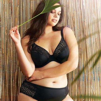 Elomi swim Indie ES7533 Black Plunge Bikini Top bra sized swimwear