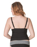 Curvy Kate Hypnotic CS3616 Monochrome/Olive Padded Balcony Tankini Swim Top
