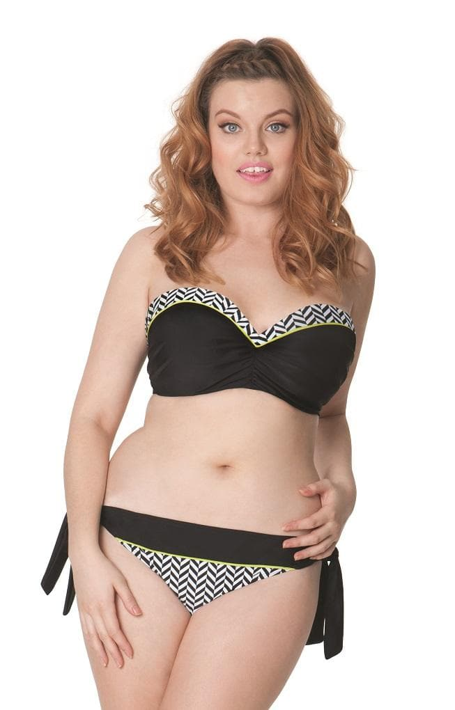 Curvy Kate Hypnotic CS3641 Bandeau Bikini Top Monochrome/Olive Swimwear